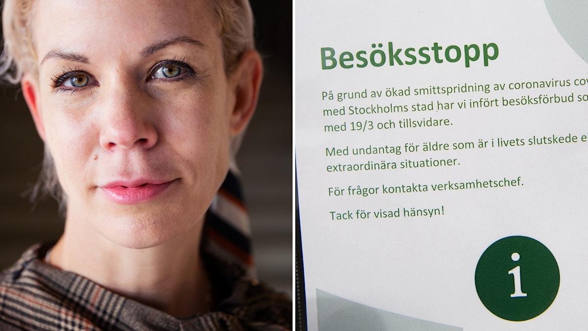 """Montage med finansborgarrådet Anna König Jerlemyr och en affisch med texten """"besöksstopp"""""""