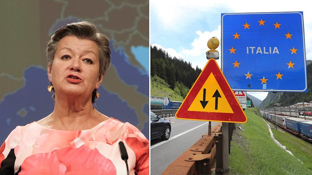 Montage med Ylva Johansson, EU-kommissionär, och gränsen till Italien.