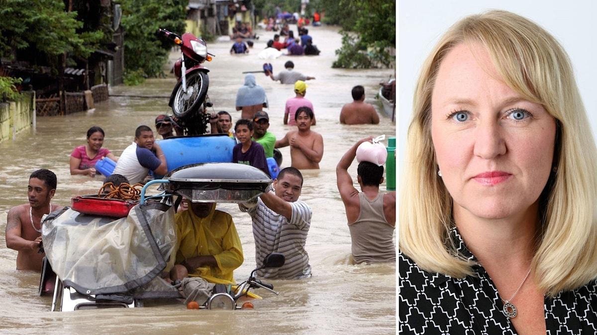 Invånare i Filippinerna evakuerar ett översvämmat område. Maria Sunér Fleming, klimatexpert på Svenskt Näringsliv.