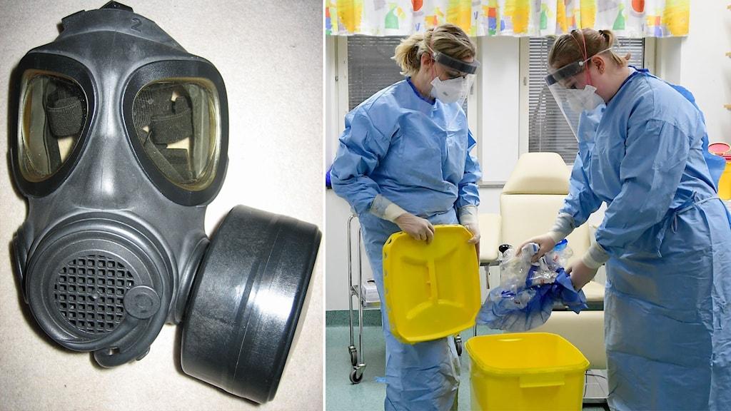 Till vänster: skyddsmask 90. Till höger: sjukvårdspersonal.