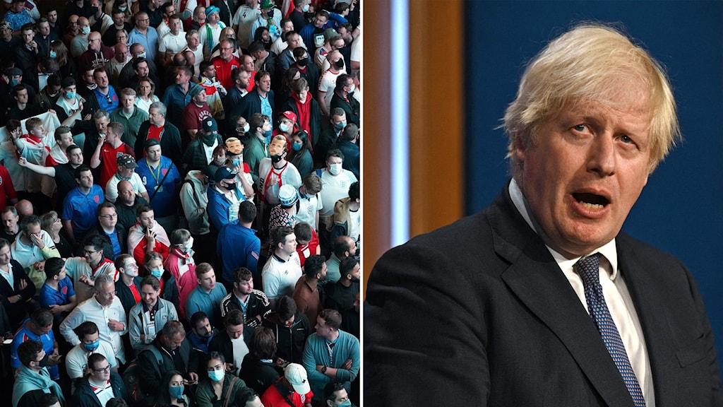 Fotbollspublik på Wembley Arena och premiärminister Boris Johnson