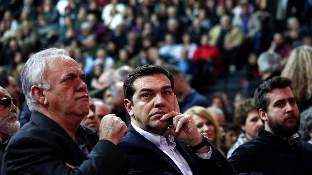 Greklands premiärminister på ett partievent.