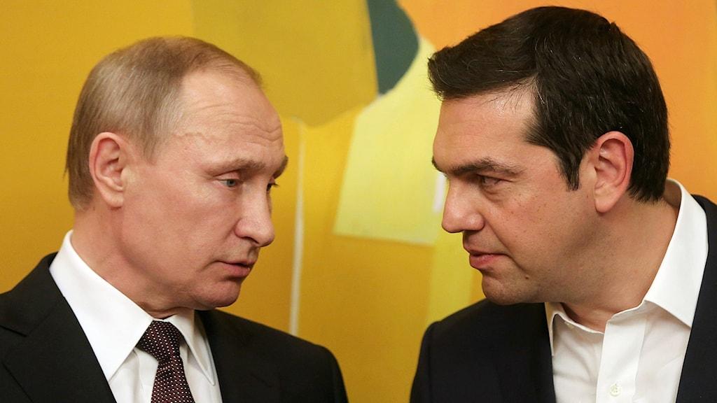 Rysslands president Putin och Greklands premiärminister Tsipras.