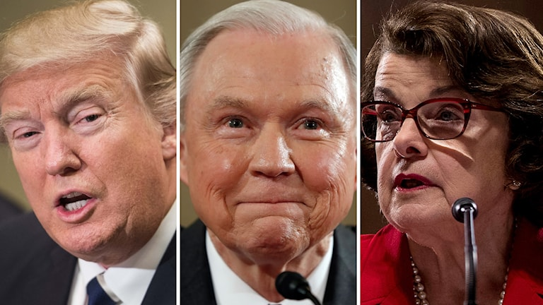 President Donald Trump, senator Jeff Sessions och demokraten Dianne Feinstein.