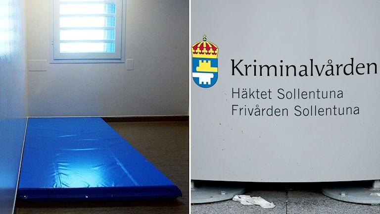 Häktescell och skylt för Kriminalvården i Sollentuna.