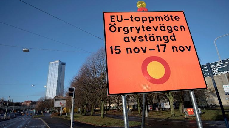Avstängd väg EU-toppmötet i Göteborg