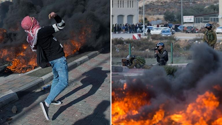 Palestinska protester och sammandrabbningar på Västbanken i staden Ramallah.