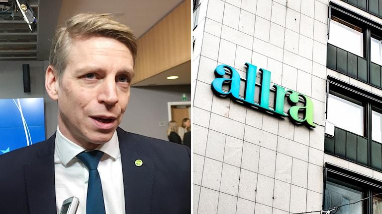 """Per Bolund, finansmarknadsminister (mp) och byggnad med skylten """"Allra"""""""