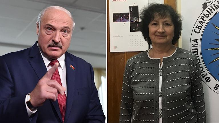 Vitrysslands president Alexander Lukashenko och Alena Anisim, tidigare ledamot i vitryska parlamentet.