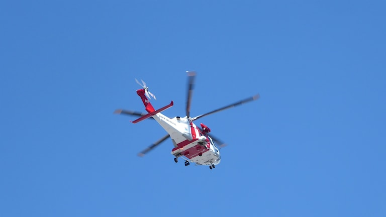Sjöräddningshelikopter, från Visby på övning i Västervik. Foto: Peter Weyde, Sveriges Radio