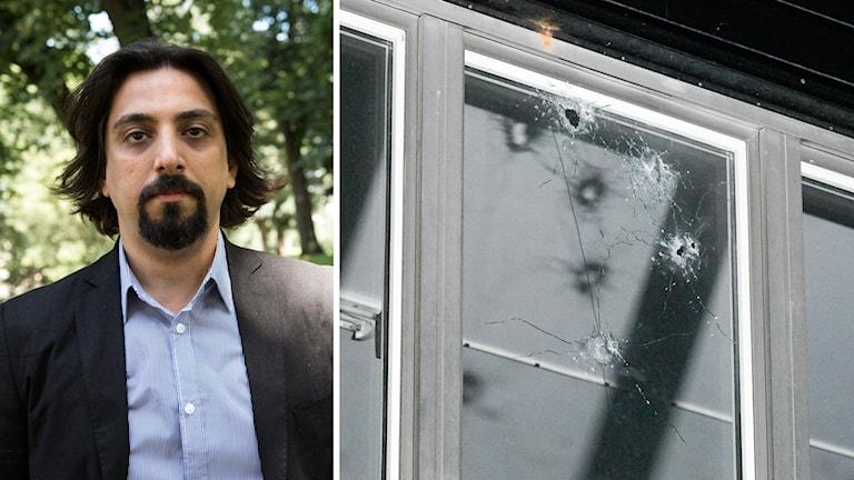 En man och skotthål i ett fönster.