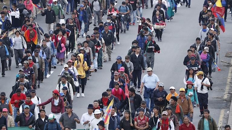 I Ecuador väntas tiotusentals demonstranter i dag inta huvudstaden Quito
