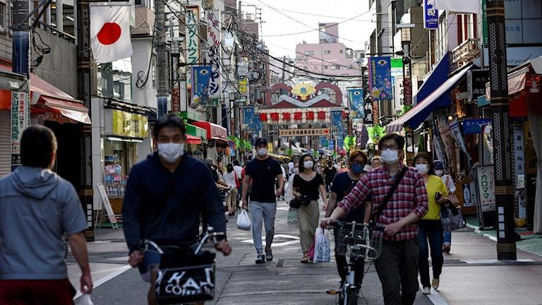 Sugamo-distriktet i Tokyo. Arkivbild.