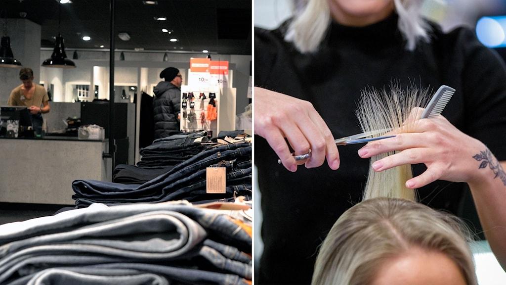 Jeans på rad i en klädbutik och en kvinna som klipper hår