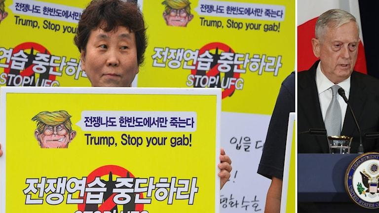 """""""Det här är en övningen för att försvara Korea och det hela är utarbetat på förhand av alliansen"""" svarade Jim Mattis, USAs försvarsminister."""