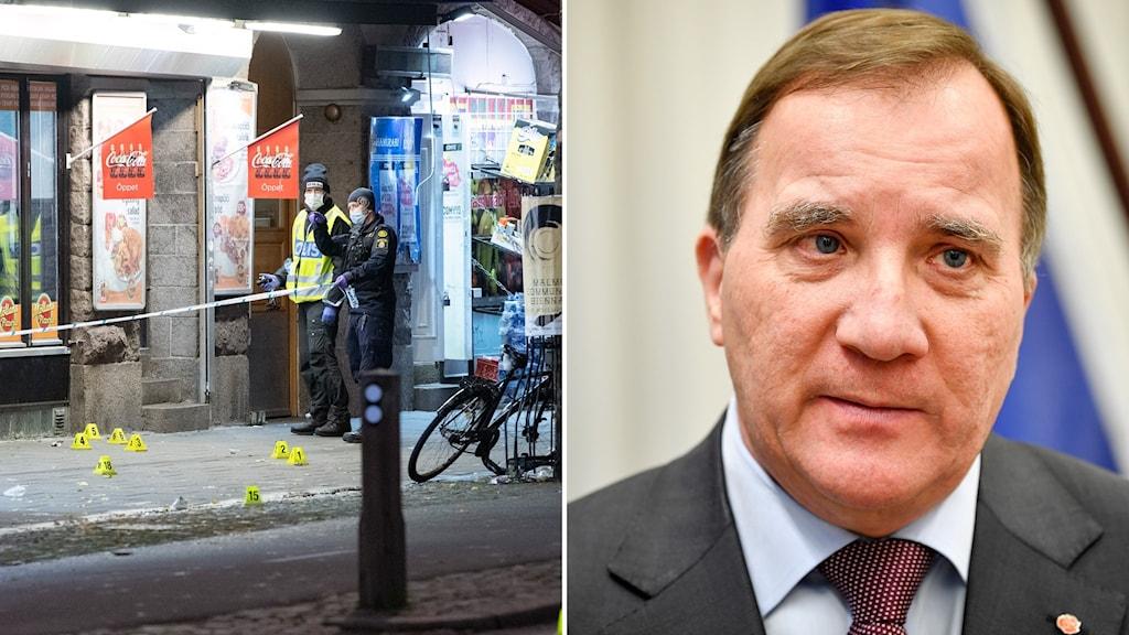 Polisens kriminaltekniker säkrar spår efter den senaste skottlossning vid en pizzeria i Malmö (t.v). Statsminister Stefan Löfven (S) (t.h).