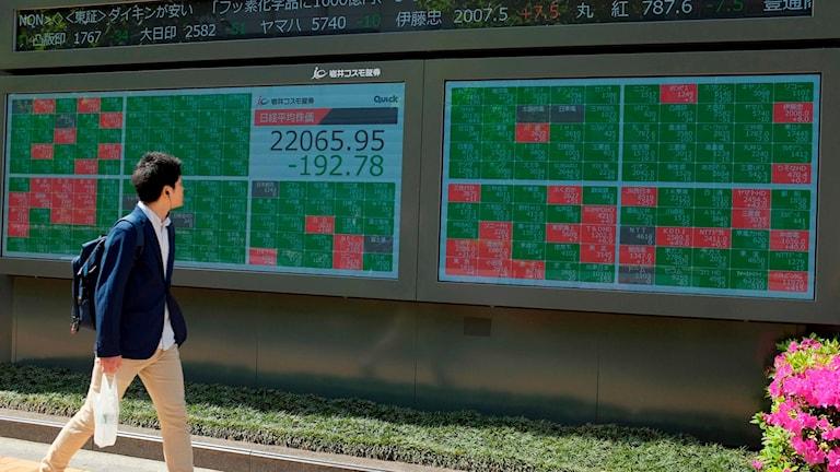 Börsinformation i Japan som visar global påverkan på börser efter USA:s plan att höja tullar mot kinesiska importvaror.