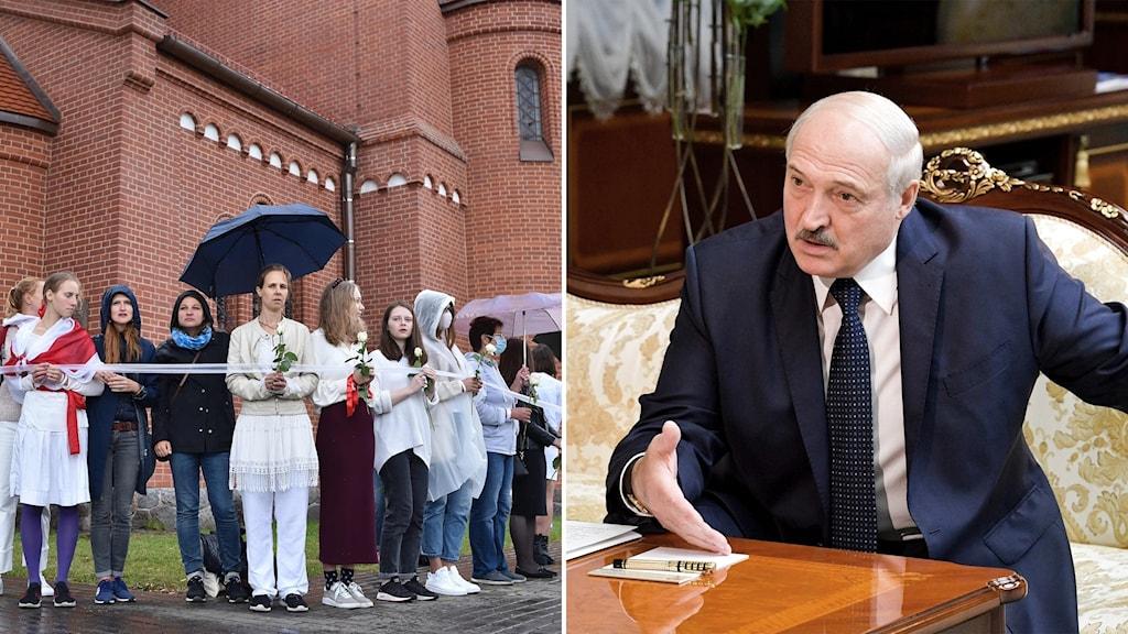 Splitbild – kvinnor bildar en mänsklig ring kring en katolsk kyrka och Lukasjenko sitter vid ett bord och gestikulerar allvarligt.
