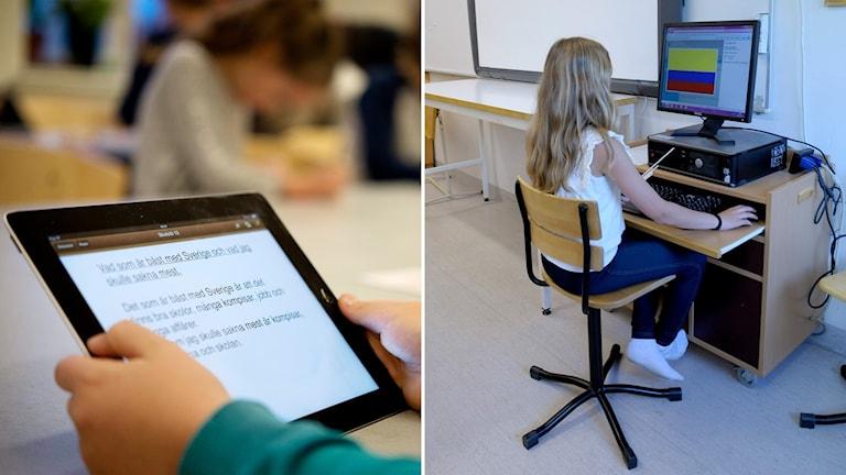 Delad bild: läsplatta i skolan, flicka vid en dator.