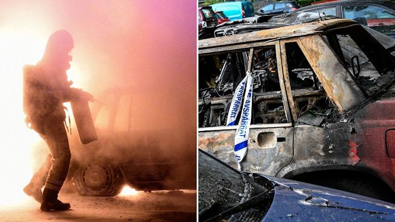 Delad bild: Bil som brinner, bil som har brunnit