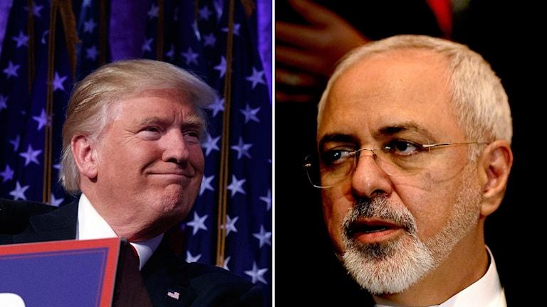 Donald Trump och Irans utrikesminister Mohammad Javad Zarif.