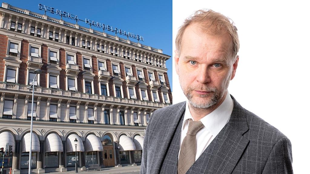 Montage med Handelsbankens fasad och Ekots ekonomikommentator Kristian Åström