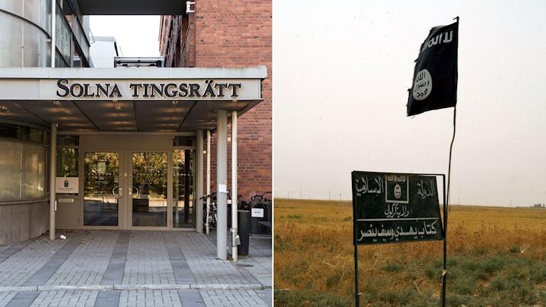 Entréen till Solna tingsrätt, till höger Islamiska statens symbol på en skylt och en flagga i Irak.