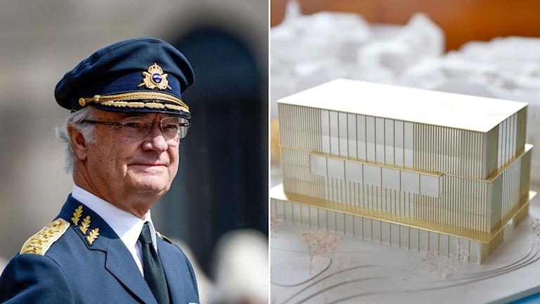 Kung Carl Gustaf. Modell av Nobel Center.