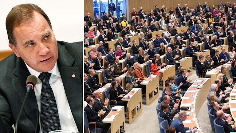 Delad bild: Statsminister, riksdagsledamöter som tittar åt ett annat håll.