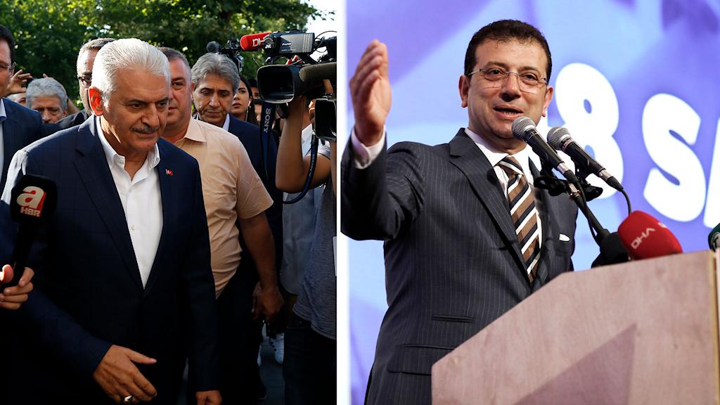 Binali Yildirim, ledare för AKP, känner sig besegrad av CHP:s ledare Ekrem Imamoglu.