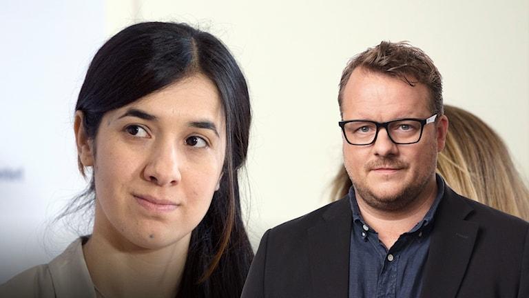 Nadia Murad och Ekots Mellanösternkorrespondent Johan-Mathias Sommarström.