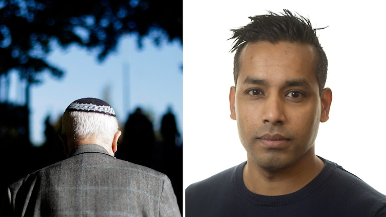 En man med kippa i Berlin och Shari Tingman, Tf gruppchef och förundersökningsledare vid Stockholmspolisens demokrati- och hatbrottsgrupp.