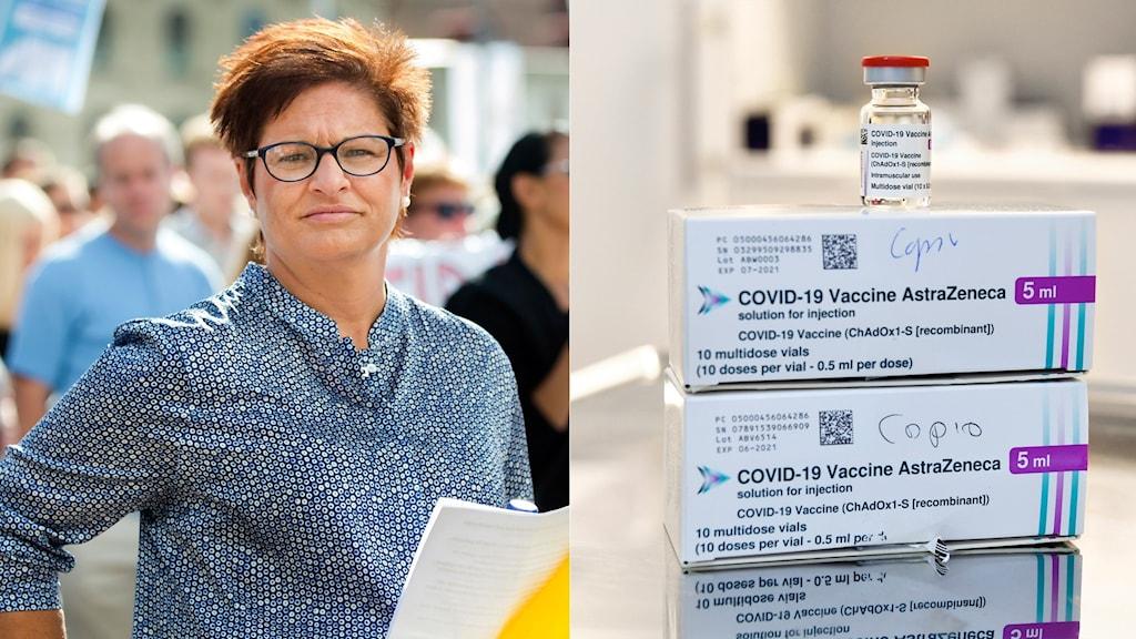 Vårdförbundets ordförande Sineva Ribeiro i montage med förpackningar av astra zenecas covid-19 vaccin.