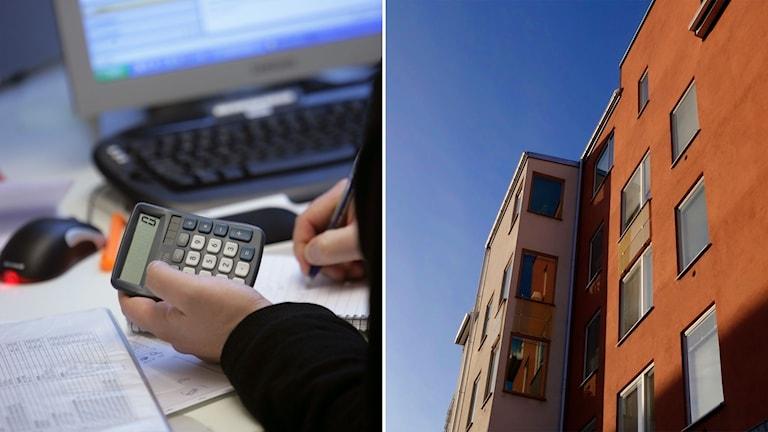 Man med miniräknare framför dator och bild på bostadsrätter.