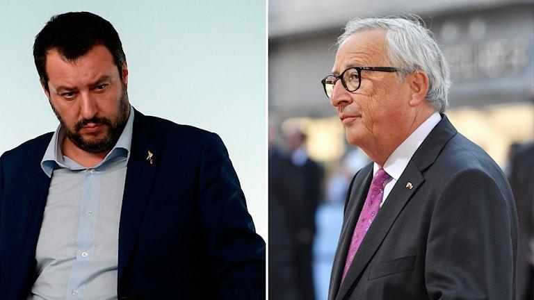 Matteo Salvini och Jean-Claude Juncker splitbild