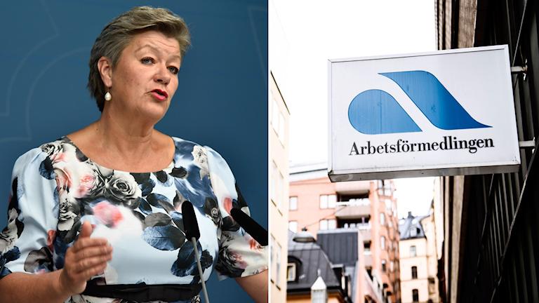Arbetsmarknadsminister Ylva Johansson (S) och en bild på en skylt med texten Arbetsförmedlingen.