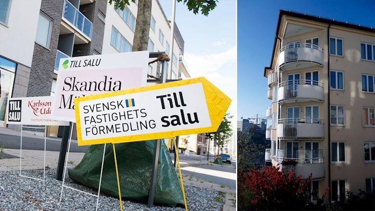 Delad bild: Till salu-skyltar och ett bostadsrättshus