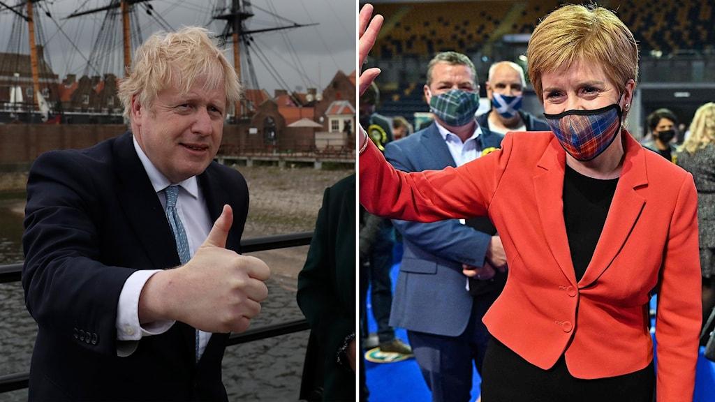 Monatge med Boris Johnson och Nicola Sturgeon.
