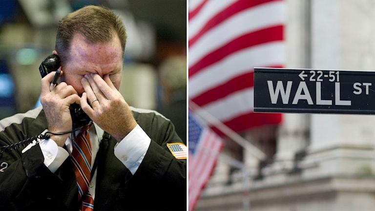 Man som tar sig för ansiktet efter börskraschen och bild från Wall street i New York.