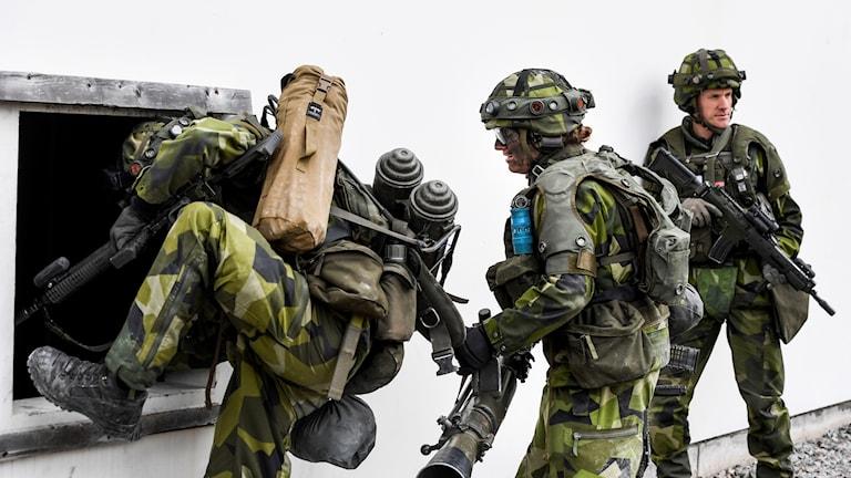 Kvinnliga och manliga rekryter övar lågintensiv strid vid markstridsskolan i Kvarn utanför Borensberg.