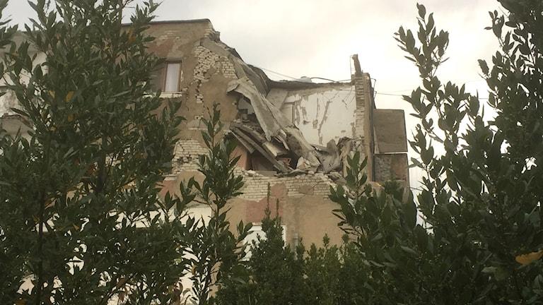 En förstörd byggnad.