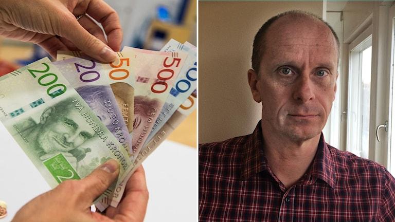 En hand som håller i sedlar till vänster och till höger en man som står vid ett fönster, Mats Galvenius