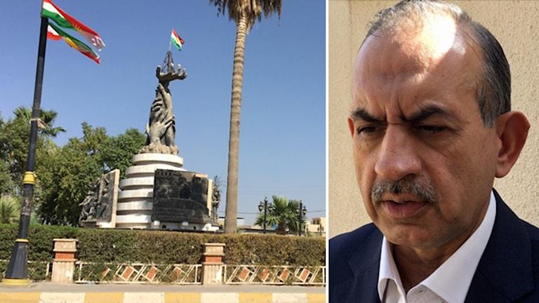 Bildkollage med ett monument och flaggor samt porträtt på en man.
