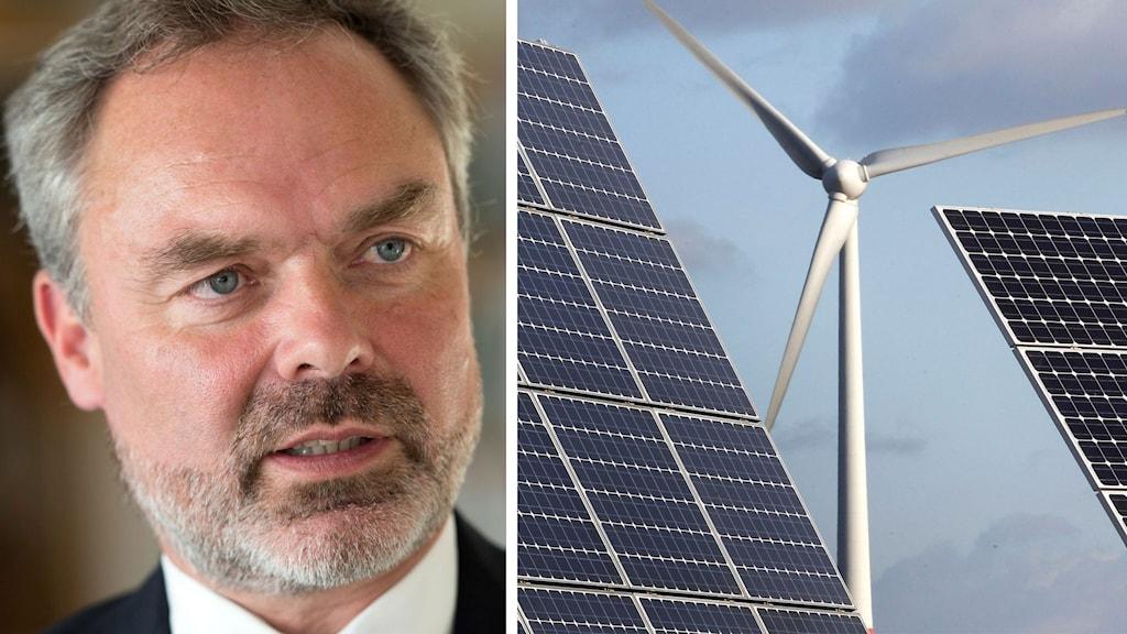 Jan Björklund och en bild på sol- och vindkraft.