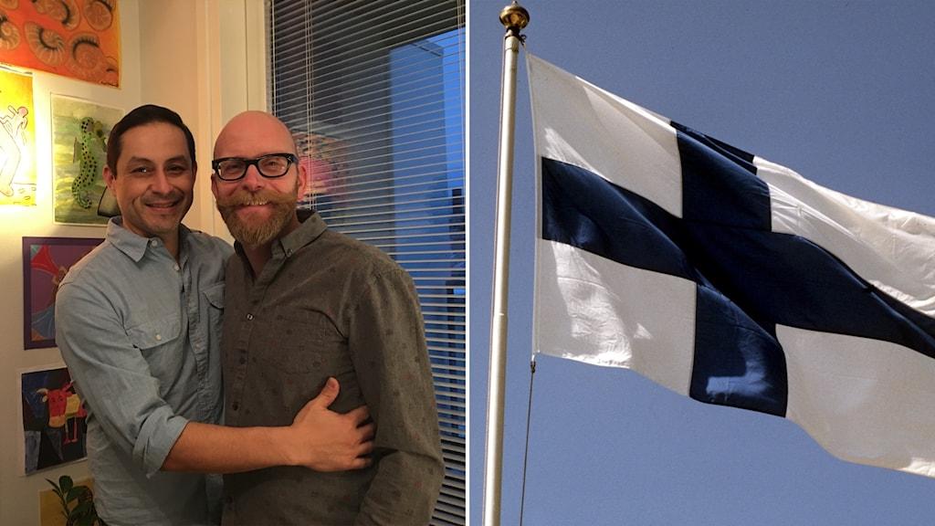 Raul Medina och Hannu Virtanen är ett av de första samkönade paren som gifter sig när den nya lagen träder i kraft i Finland. Foto: Palmira Koukkari Mbenga/Sveriges Radio