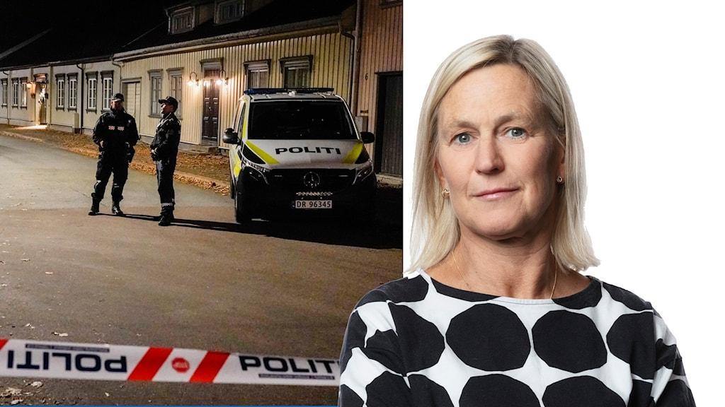 Polis på plats och Carina Holmberg.