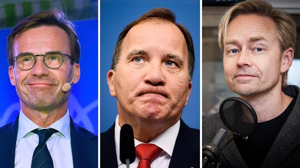Ulf Kristersson (M), Stefan Löfven (S) och Ekots Fredrik Furtenbach.