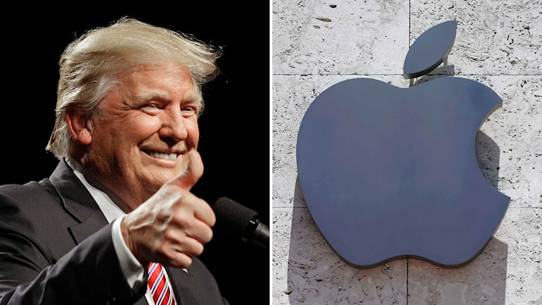 Donald Trump och Apples logo