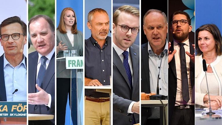 Ulf Kristersson (M), Stefan Löfven (S),  Annie Lööf (C), Jan Björklund (L) Andreas Carlson (KD), Jonas Sjöstedt (V), Jimmie Åkesson (SD),och Isabella Lövin (MP)möts i debatt i riksdagen