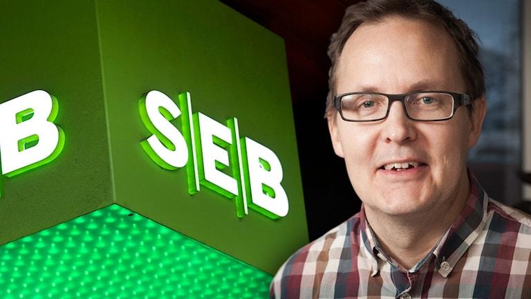 Pär Ivarsson i förgrunden till banken SEB:s logga.